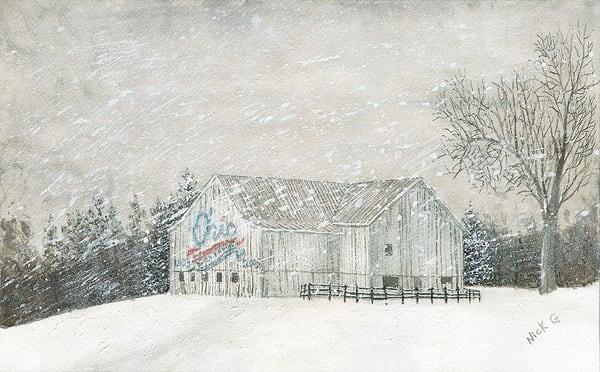 Ohio Barn In Snow Art | Cincy Artwork