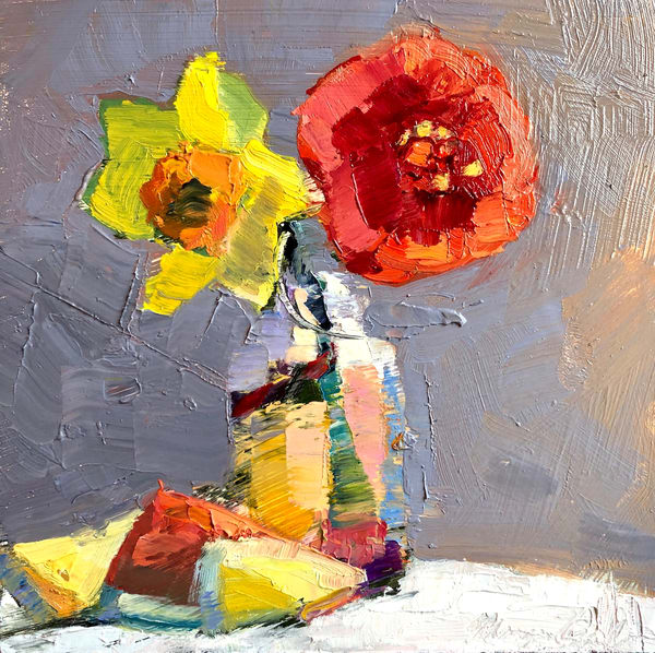 "Expressionist ""Still Life With Red Camellia Daffodil Lemon and Watermelon"" oil painting by Monique Sarkessian."