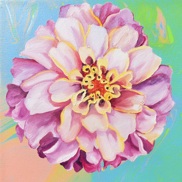 Candy Zinnia painting