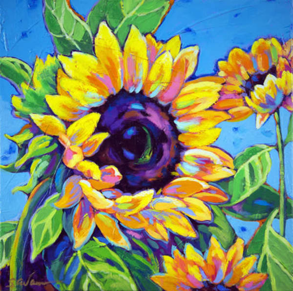 Sunflowers Dance In Blue | Sally C. Evans Fine Art