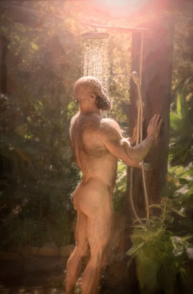 Cal and the outdoor Shower, men of a certain age, Ben Fink art prints, photo