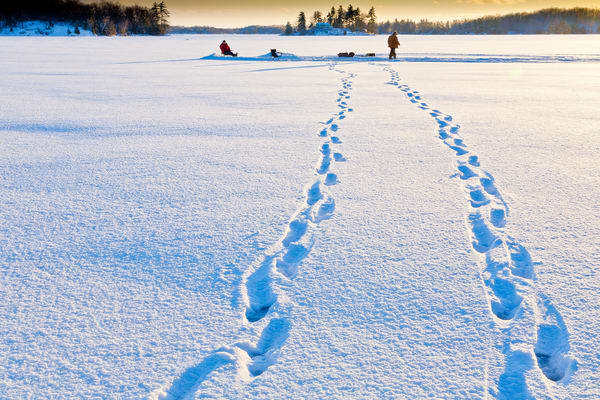 Bob' Lake, Ice Fishing, Frozen lake, Ontario, Canada