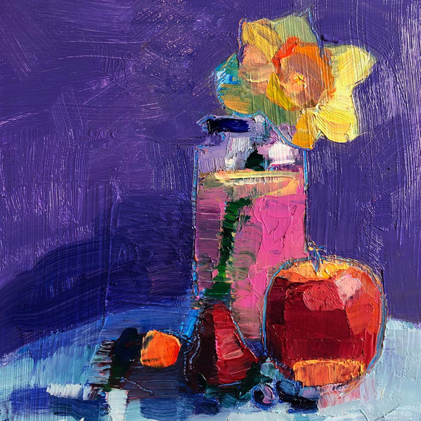 "Striking ""Still Life With Daffodil Pink Lady and Berries"" oil painting by Monique Sarkessian."