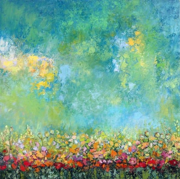 Blue Sky Poppy Wildflower Original Painting For Senior Living Facility.
