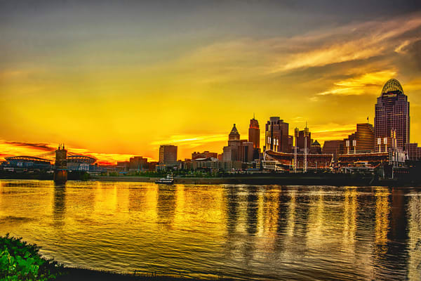 Cincinnati Sunset On The Ohio Art | Cincy Artwork