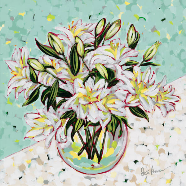 A vibrant painting of a bouquet of white lilies.