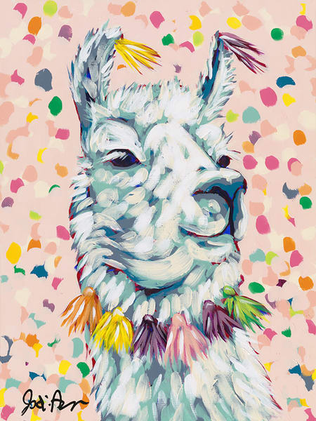 Original painting of a decorated llama on a colorful pink background by Jodi Augustine.