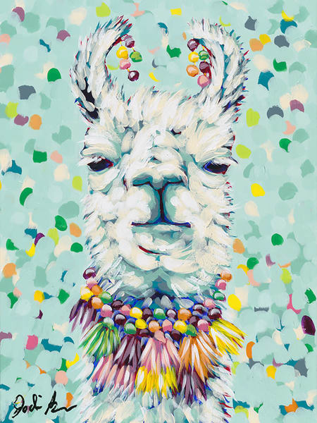 Original painting of a decorated llama on a colorful blue background.
