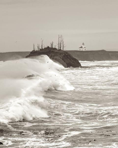 Cape Arago Lighthouse Large Storm Surf Oregon Art | Shaun McGrath Photography