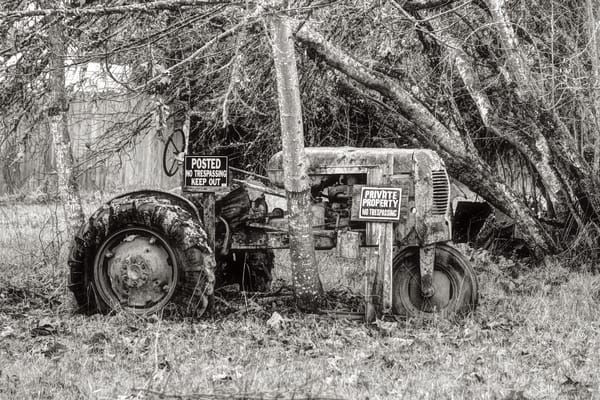Delapidated No Trespassing Tractor B W Oregon Art | Shaun McGrath Photography