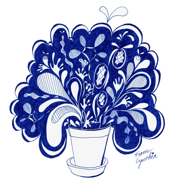 A whimsically illustrated plant drawn in blue penn