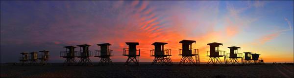 Huntington Beach Lifeguard Stand Panorama Photography Art | Shaun McGrath Photography