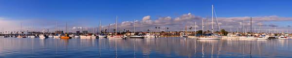 panorama of boats in newport bay