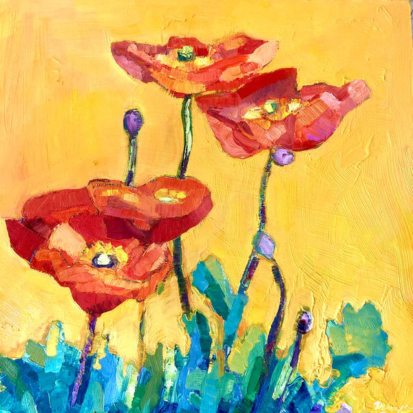 """Still Life with Poppies 1"", still life painting With Poppies by Monique Sarkessian."