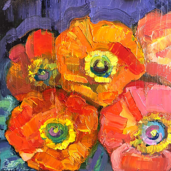"""Still Life with Poppies 2"", oil painting With Poppies by Monique Sarkessian."