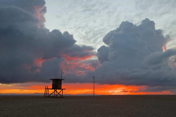 Newport Beach Lifeguard Stand Sunset