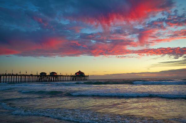Huntington Beach Pier with Red Sky.