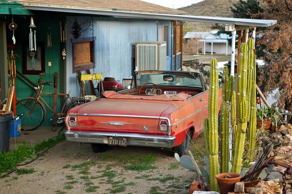 A 60s Chevy Nova in a Desert Town.