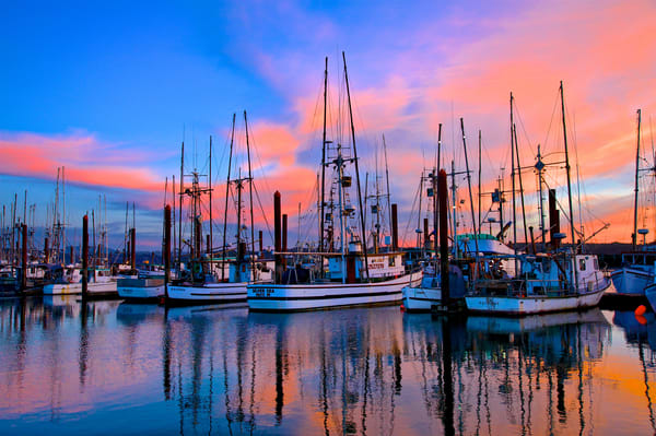 Fishing Boats Sunset Charleston Oregon