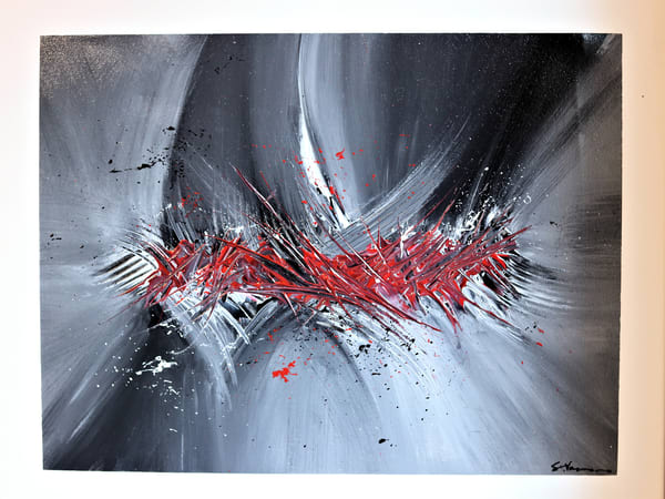 Acrylic on Canvas Abstract Painting Spirit of the Samurai