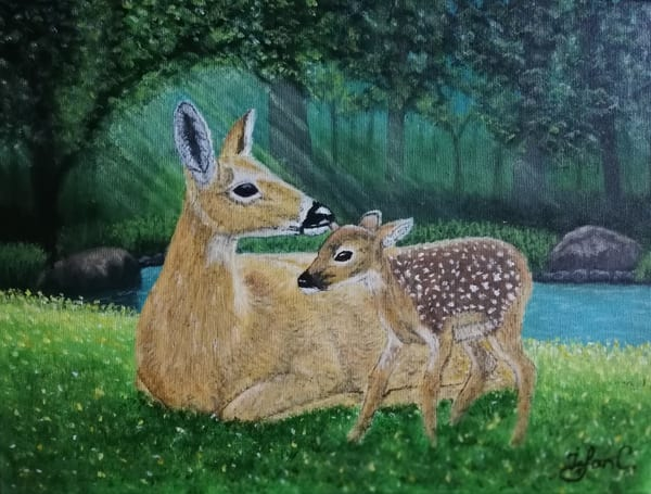Deer Mother with her Child