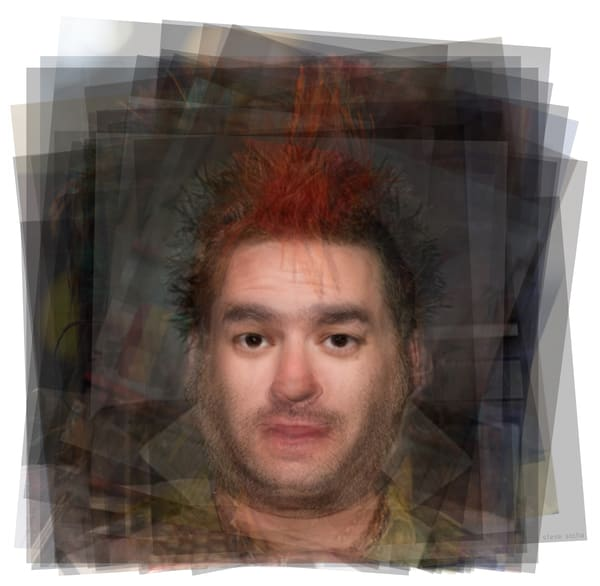 Overlay art – contemporary fine art prints of a portrait of Fat Mike from punk band NOFX.