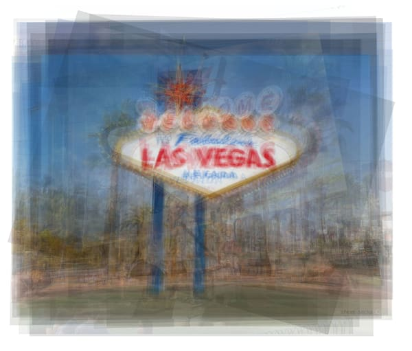 Overlay art – contemporary fine art prints of the welcome to Fabulous Las Vegas sign.