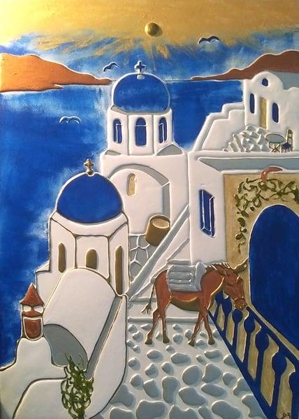 Santorini Fira Art | Alex Art Style