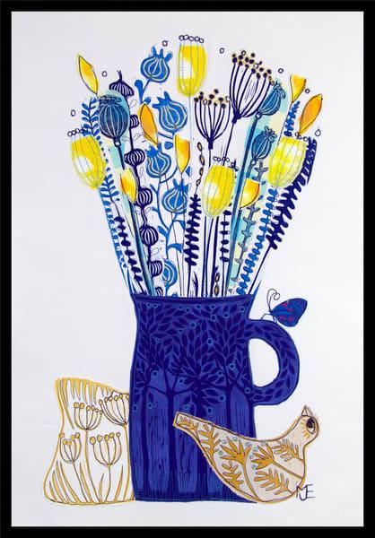 Sold   Easter Sunshine   Linocut Collage Art by mariannjohansen-ellis
