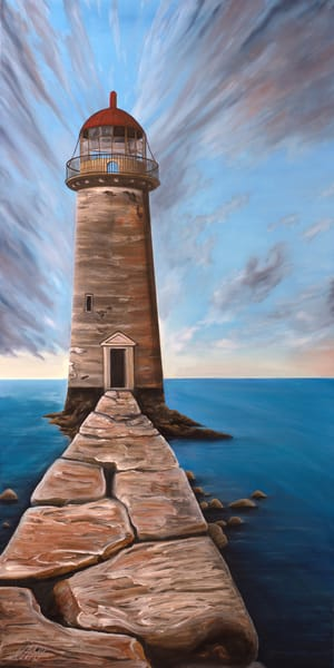 Retired Lighthouse | Original Mixed Media Painting Art | MMG Art Studio | Fine Art Colorado Gallery