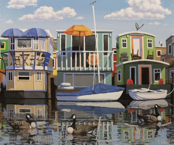 Houseboats, Canada Geese Art | Fountainhead Gallery