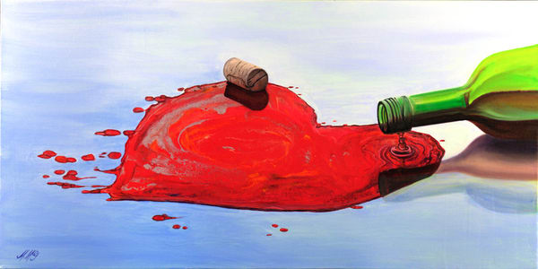 Love of Wine   Original Mixed Media Painting