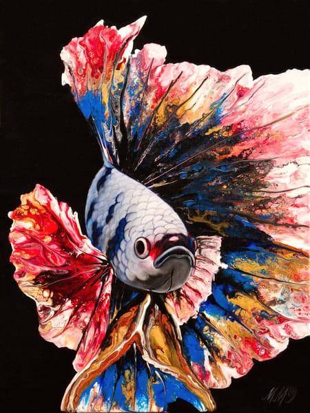 Rainbow Betta Fish | Original Mixed Media
