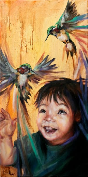 Purchase prints of the colorful and joyous oil painting Little Bird: Little Brother by Ans Taylor