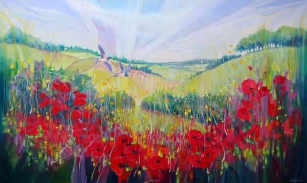 Summer on the Downs is an original, very large oil painting on canvas, of a South Downs landscape with poppies and swallows