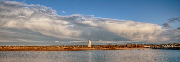 Edgartown Light Sunset Thunder Clouds Panorama