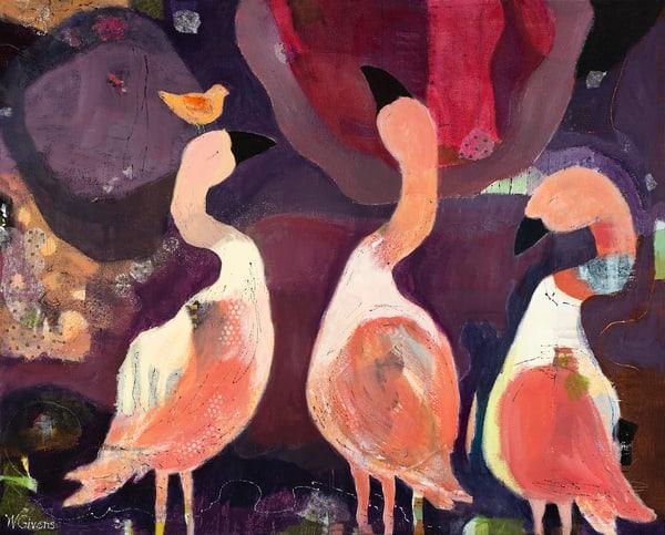 pink, flamingos