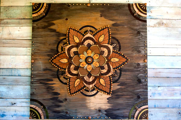 Mandala VI Mixed Media Wood Carved Sculpture Art by Andrew from Cool Art House