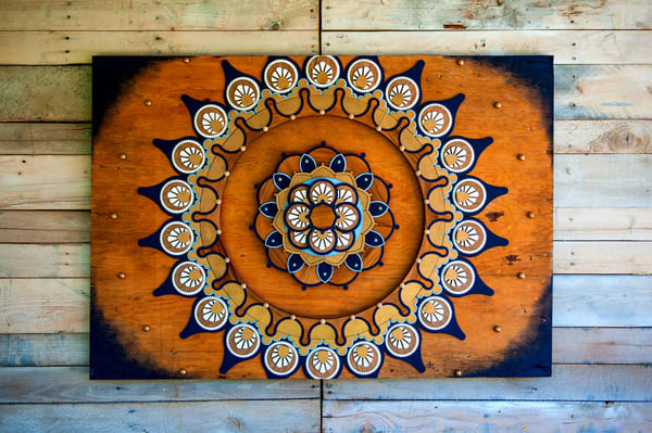 Mandala VIII Mixed Media Wood Carved Sculpture Art by Andrew from Cool Art House