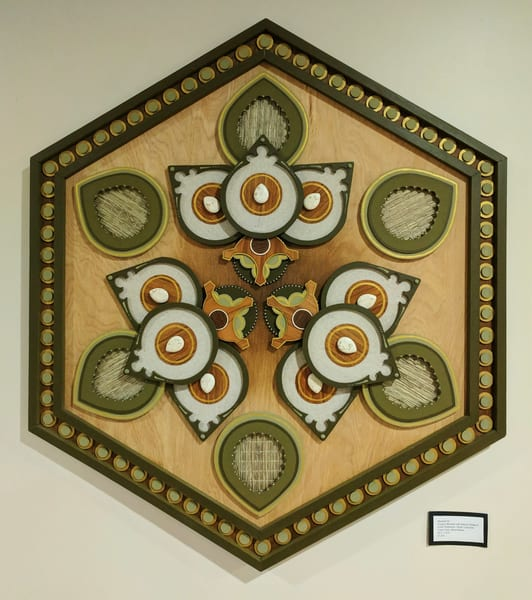 Mandala XII Mixed Media Wood Carved Sculpture Art by Andrew from Cool Art House