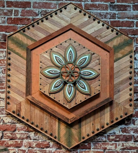 Mandala XXIII Mixed Media Wood Carved Sculpture Art by Andrew from Cool Art House
