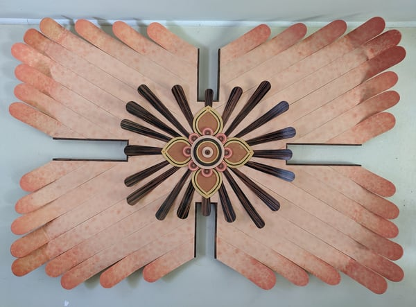 Curved Sunburst Mixed Media Wood Carved Sculpture Art by Andrew from Cool Art House