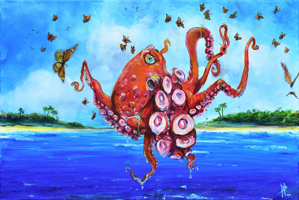 Octopus Art | Sea Life Paintings | Cephalopods | Vibrant Animal Paintings | Tif Choate Art for Sale | Animal Art Gallery | Buy Fine Art Prints of Octopuses | Whale art