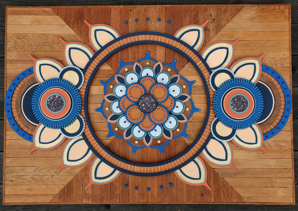 Mandala XXIX Mixed Media Wood Carved Sculpture Art by Andrew from Cool Art House