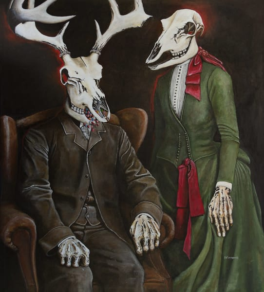The Unnatural Selections:'The Old Man & His Bride' Large Painting by Portland Artist David from Cool Art House