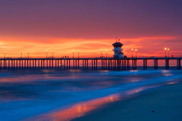 Huntington Beach Pier, Red Sky Art | Shaun McGrath Photography