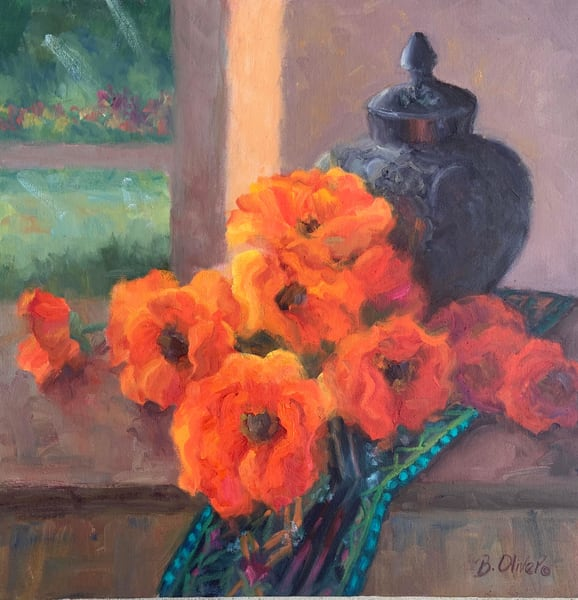 Poppies And Black Vase Art | B. Oliver, Art