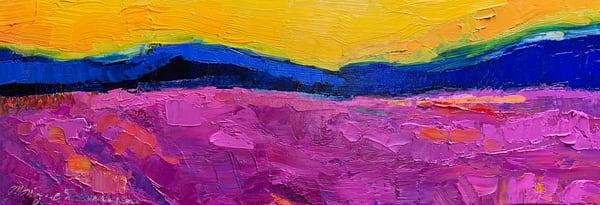 """Prophetic landscape painting """"Heaven Purple Fields"""" , oil painting by Monique Sarkessian."""