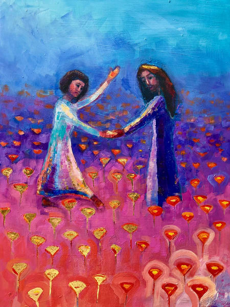 "Heaven landscape ""Poppy Field With Jesus"" oli painting, oil, mixed media and gold leaf on wood, 24x18"" by Monique Sarkessian."
