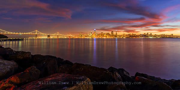 Treasure Island Bay Bridge San Francisco Evening - San Francisco Wall Murals